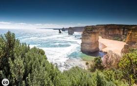 Обои закат, пейзаж, скалы, океан, Австралия, Порт Кэмпбелл, природа