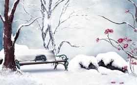 Обои зима, снег, цветы, рисунок, розы, скамья