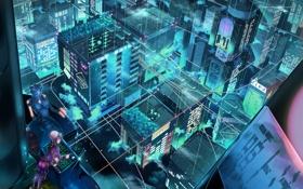 Картинка город, фантастика, робот, аниме, проекция, инженер, кибер