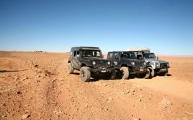Обои Черный, Пустыня, Три, Серебро, Land Rover, Жара, Sahara