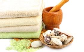 Картинка полотенце, ракушки, shells, towel, Ландыши, морская соль, ступка для растирания трав