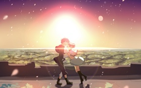 Картинка небо, девушка, солнце, радость, закат, аниме, слезы