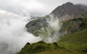 Обои облака, трава, The Alps, cybercake, альпы, горы