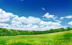 Обои небо, трава, облака, деревья, холмы, домики