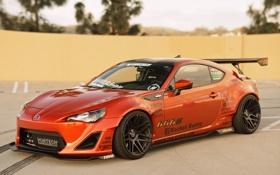 Обои оранжевый, тюнинг, Toyota, tuning, front, orange, Scion
