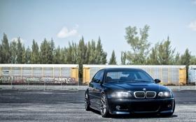 Обои небо, бмв, вагоны, BMW, E46, dark blue, тёмно синий