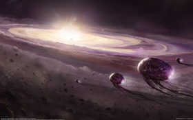 Обои космос, корабли, пыль, астероиды, пришельцы, центр, галактики