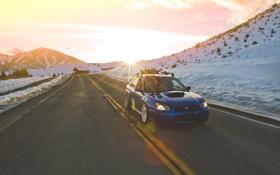 Картинка дорога, солнце, снег, горы, скорость, Subaru, wrx