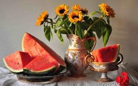 Обои арбуз, кувшин, стол, натюрморт, цветы
