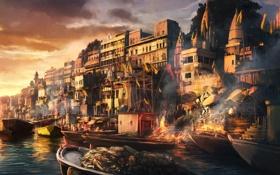 Картинка город, люди, пожар, лодка