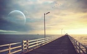 Картинка море, небо, облака, пейзаж, птицы, мост, природа