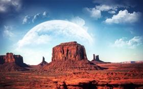 Картинка Облака, Горы, Планета, Monument valley