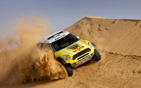Обои песок, желтый, Спорт, Гонка, Mini Cooper, Rally, Dakar