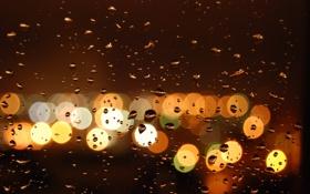 Обои капли, дождь, город, bokeh, стекло, вечер, огни