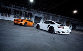 Обои тачки, Porche, Lamborghini gallardo, cars, auto