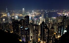 Обои ночь, огни, Гонконг, небоскребы, панорама, Китай, мегаполис