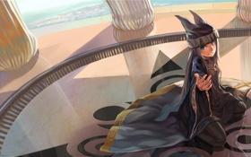Обои узор, шапка, рука, меч, арт, девочка, пол