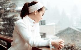 Картинка зима, взгляд, снег, надежда, девочка, ожидание, Waiting love