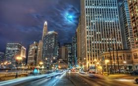 Обои дорога, огни, здания, Чикаго, Chicago
