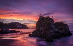 Обои пляж, скалы, рассвет, Sayulita, океан, Mexico