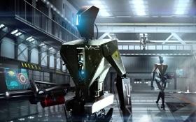 Обои металл, интерфейс, роботы, арт, ангар
