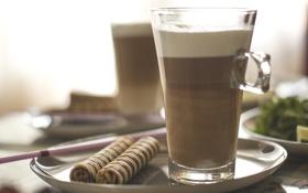 Обои кофе, еда, завтрак, утро, напитки, вафельные палочки