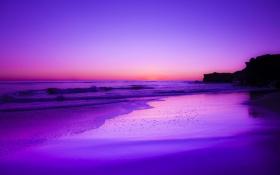 Обои песок, пляж, океан, рассвет