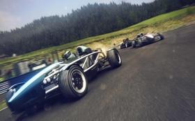 Картинка машина, лес, гонка, игра, скорость, трасса, шлем
