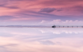 Картинка reflections, clevedon pier, marine lake, somerset