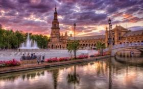 Обои мост, река, фонари, фонтан, Испания, набережная, Spain