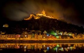 Обои ночь, город, замок, гора, дома, германия, night