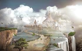 Обои зебра, храм, двое