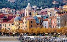 Картинка море, деревья, камни, берег, дома, Италия, Лигурия