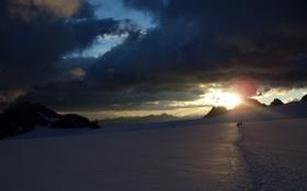 Картинка солнце, свет, снег, горы, тучи