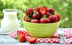 Картинка ягоды, молоко, клубника