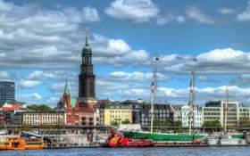 Обои город, река, фото, дома, яхты, Германия, Гамбург