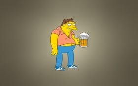 Обои Симпсоны, кружка, персонаж, The Simpsons, Барнард «Барни» Гамбл