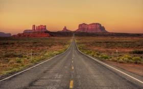 Обои дорога, небо, пустыня, Аризона, Юта, сумерки, Долина монументов