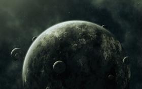 Обои Планета, Спутники, Seven Moons, Семь Лун