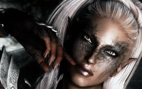 Обои глаза, девушка, лицо, рука, хвост, маскировка, белые волосы