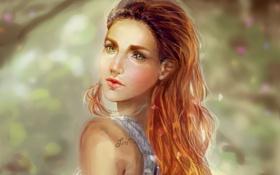 Обои взгляд, девушка, волосы, майка, арт, живопись, плечи