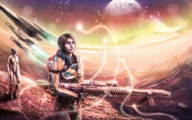 Картинка оружие, корабль, планета, арт, Mass Effect, Shepard, Liara