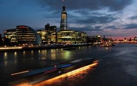 Обои река, ночь, огни, темза, город, london, лондон
