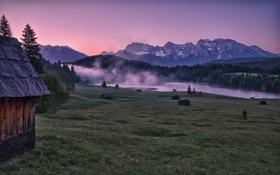 Картинка горы, пейзаж, долина, дом, природа