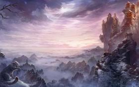 Обои снег, кошки, горы, азия, высота, арт, храм