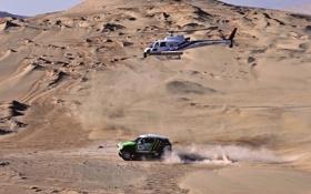 Картинка гонка, Песок, Авто, Спорт, Зеленый, Машина, Вертолет