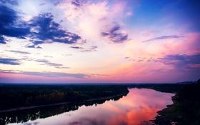 Обои закат, облака, река, отражение, гладь