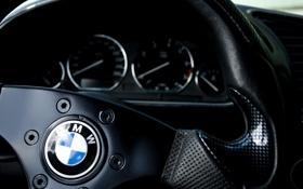 Картинка bmw, приборы, руль