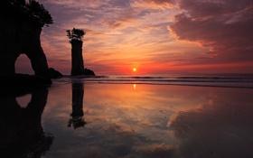 Обои море, скалы, берег, утро
