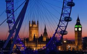 Картинка Palace of Westminster, Big Ben, башня, вечер, Лондон, колесо, London